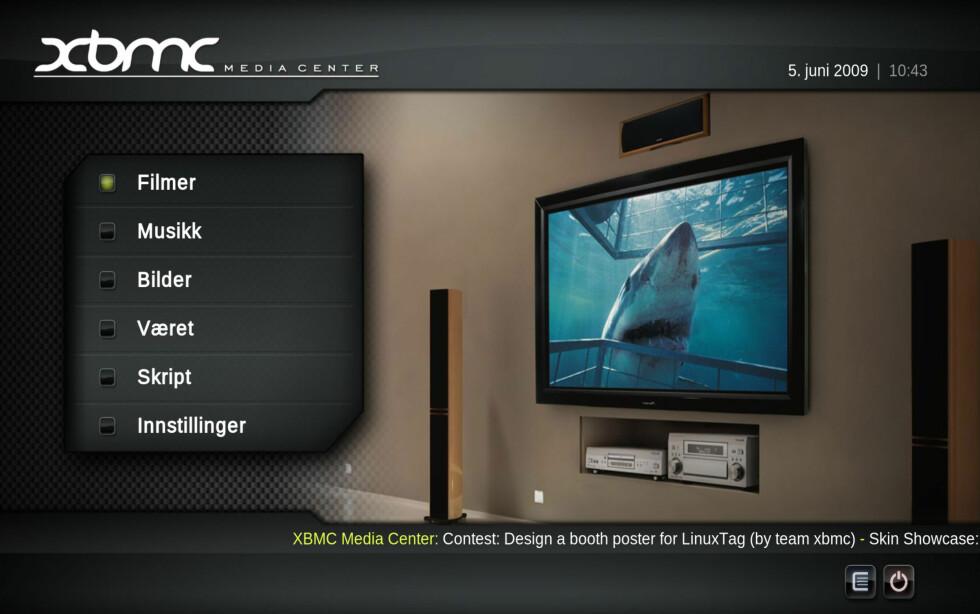 XBMC kan kjøres rett fra minneplugg eller CD, og er svært enkelt å bruke med mus. Et klikk med venstre tar deg inn i menyen, et klikk med høyre tar deg tilbake.