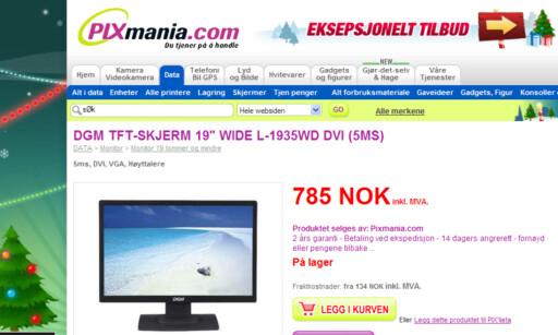 Hos Pixmania.com kan du gå kjøpt en 19-tommers LCD-skjerm for 785 kroner.