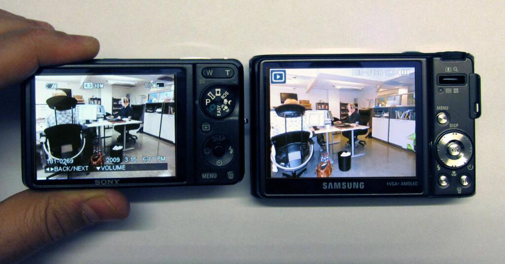 Her sammenligner vi skjermkvaliteten mot testvinneren. Samsungs skjerm er større, har høyere oppløsning, og er hakket bedre enn Sonys.