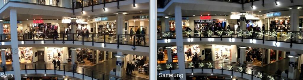 Her er to stillbilder fra HD-video. Sony til venstre, Samsung til høyre.