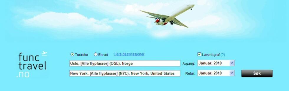 Functravel.no lover å hjelpe deg å finne de billigste flybillettene. Foto: Faksimile fra Functravel.no
