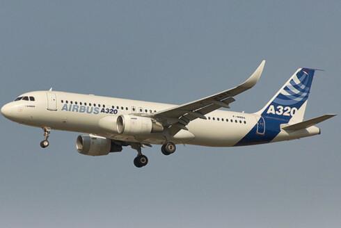 Slik blir nye A320 seende ut. Merk at vippen på vingene faktisk er 2,4 meter høy. Foto: Airbus