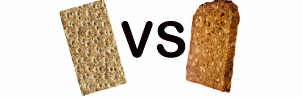 DUELLEN: Valget mellom brød eller knekkebrød er hyppig diskutert. Her får du endelig et ekspertsvar fra en klinisk ernæringsfysiolog. Foto: Montasje: Wasa og Colourbox.com