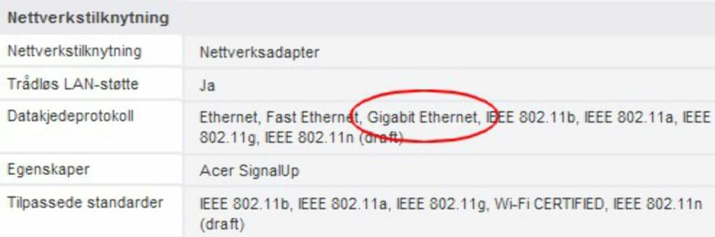 """Når du leser PC-annonsene, bør du merke deg følgende: """"Ethernet"""" betyr typisk 10 mbps, """"Fast Ethernet"""" er 100, og """"Gigabit Ethernet"""" er 1000 mbps. Gb LAN, Gigabit LAN og lignende benevnelser betyr det samme."""