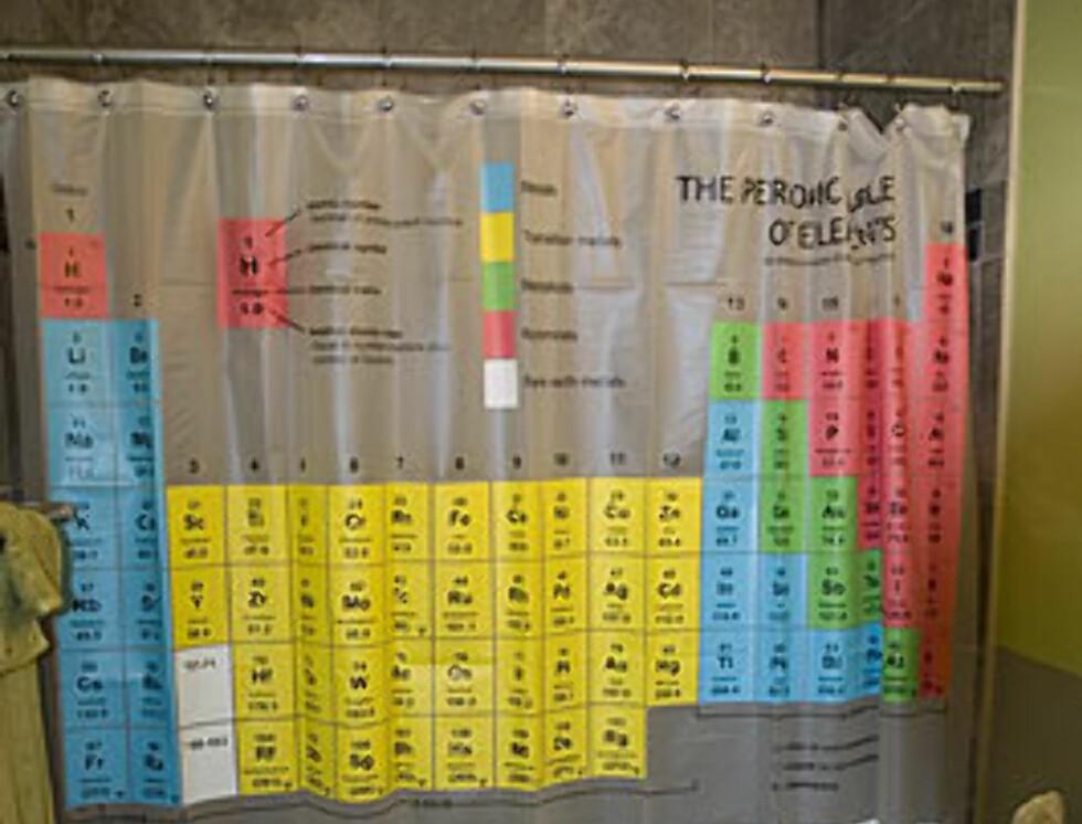 Når du er ferdig med verdenskartet og ungergrunnskartene, kan du jo utfordre hjernen med den periodiske tabell. Koster 29,99 dollar (169 nok) på thinkgeek.com