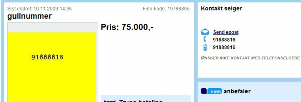 """<b>Gråstein til gull</b> Også de ikke aller enkleste telefonnumrene markedsføres som """"gullnummer"""" på Finn."""