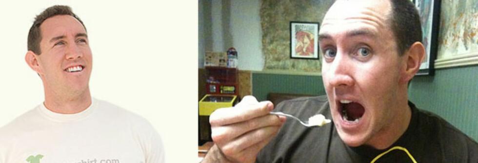 James Sadler selger ikke sitt vakre åsyn, men han selger kroppen sin. Eller i alle fall t-skjorta på kroppen sin. Foto: iwearyourshirt.com