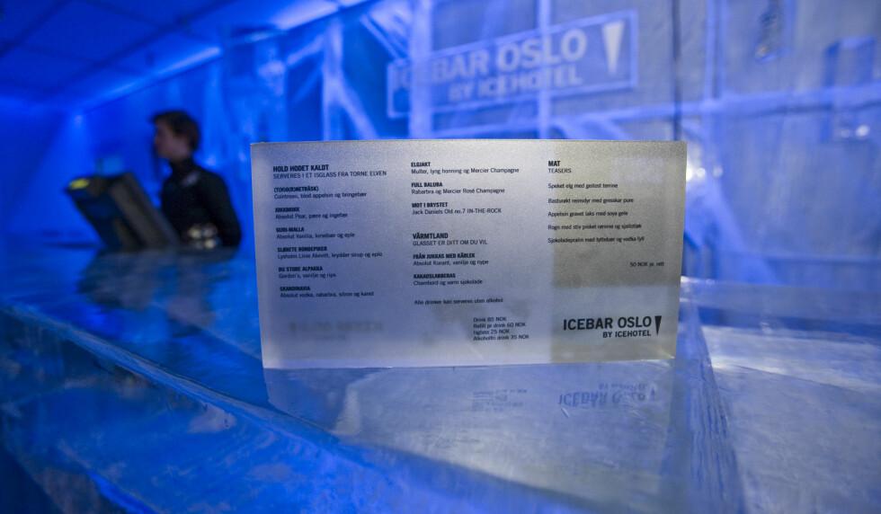 En drink hører med i pakken du velger når du skal inn i isbaren. Vi prøvde en alkoholfri sløret bondepike, og den var ikke dum. Den hadde sikkert varmet mer med litt vodka oppi. Foto: Per Ervland