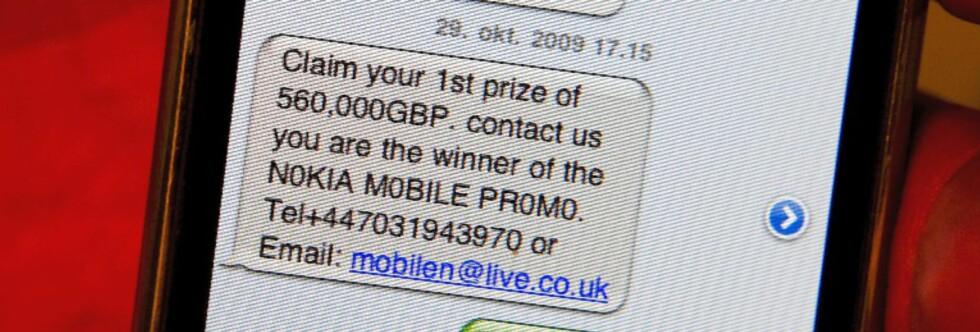 Hurra! Nå blir det ny bil, hytte og ferie på Hawai. Det gjør ikke noe at finske Nokia har et britisk telefonnummer og ikke benytter sitt eget domene til e-postadressen.
