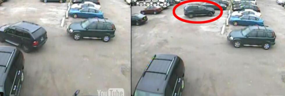Om få sekunder utfører BMW-sjåføren en parkering av de sjeldne. Foto: YouTube
