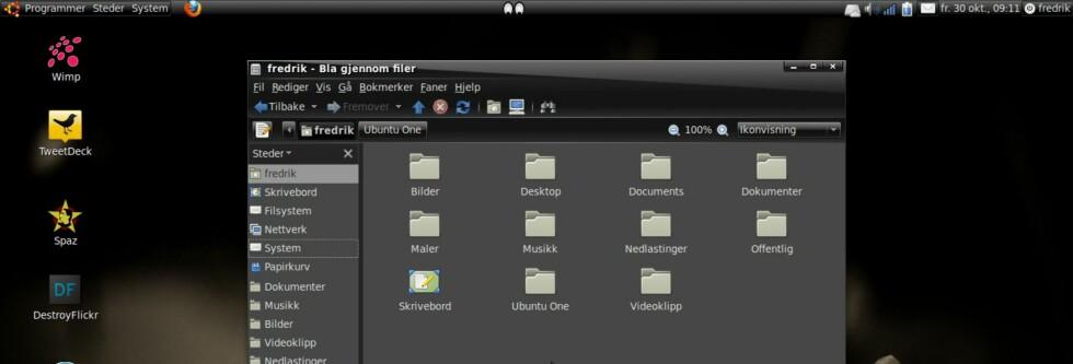 Her har vi endret bakgrunn og ikoner etter smak. Ubuntu One legger seg som en egen mappe på hjemmeområdet.