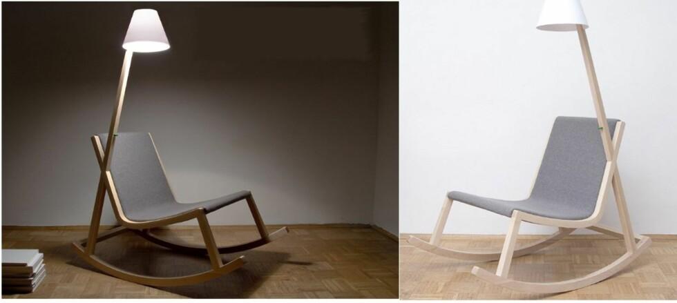 Noen gyngestoler lager mer enn knirkelyder - som denne miljøvennlige stolen, Murakami chair, som lager strøm til den integrerte lampen når du gynger ... Foto: Designboom