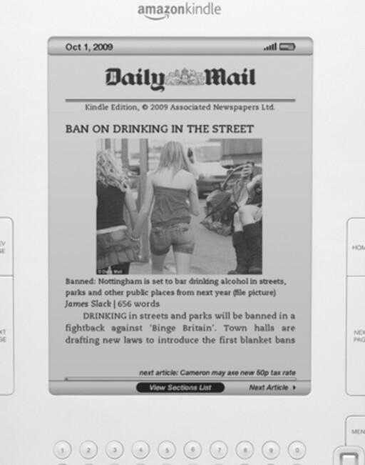 AVIS: Slik ser en avisside ut i Kindle, her representert med den britiske tabloiden Daily Mail.