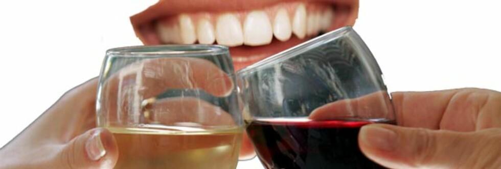 HVIT ER VERST: Men ved å spise ost kan du nøytralisere effekten sure hvitviner har på tannemaljen. Foto: Montasje Colourbox.com