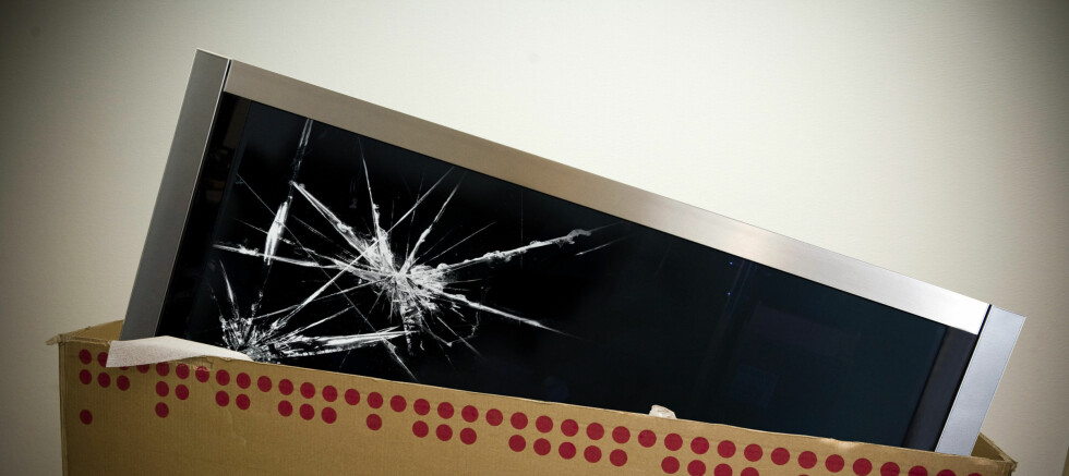 Får du ny, dersom den nye flatTV-en din er knust når du pakker den ut? Foto: Per Ervland