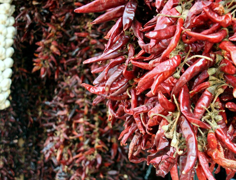 Tørkede paprika og chili er svært vanlig i Ungarn.