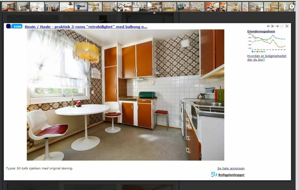 Når du klikker deg inn på et enkelt bilde, får du det opp i stort format. Samtidig er det lett å se hvor boligen er, og enkelt å navigere seg videre til prospektet - eller eiendomspulsen for det området.  Foto: Finn.no