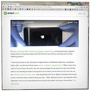 DOKUMENTERT: Ekspertene i iFixit mener de har god dokumentasjon på at iPhone kan få problemer med skjermen av seg selv. (Faksimile: ifixit.org)
