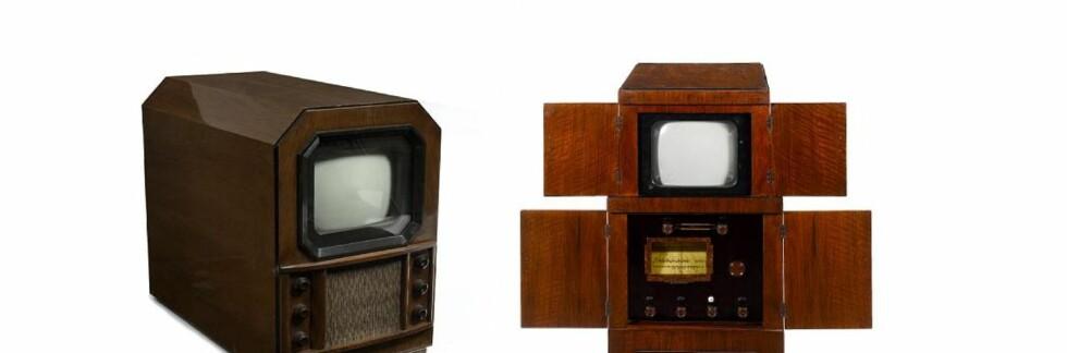 Begge disse tv-apparatene er til salgs i Bonhams auksjon av  Michael Bennett-Levys samling av tidlig teknologiske produkter.  Foto: Bonhams