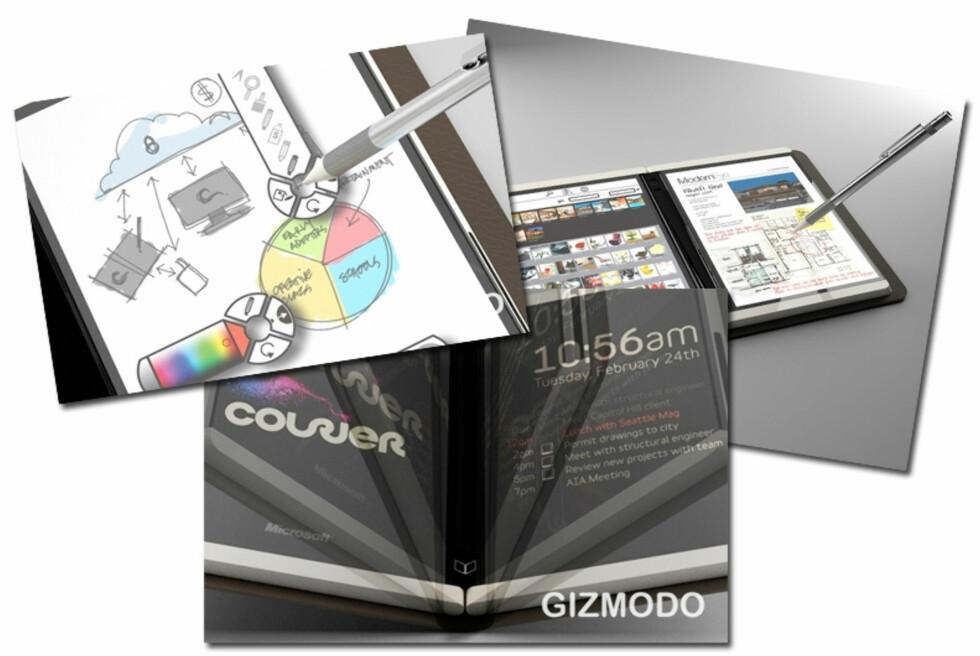 Microsofts hemmelighet: Courier blir en slags digital notatblokk som virker veldig spennende. (Bilder fra Gizmodo.com)