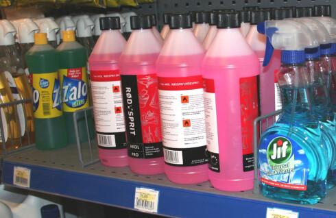 75 kr: Hos Maxbo på Alnabru i Oslo koster én liter rødsprit 75 kroner.