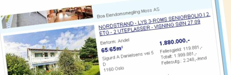 Akkurat som du må være 18 for å ta sertifikatet, stemme eller kjøpe vin, må du være 60 år gammel for å kjøpe denne leiligheten på Norstrand i Oslo. Foto: Finn.no