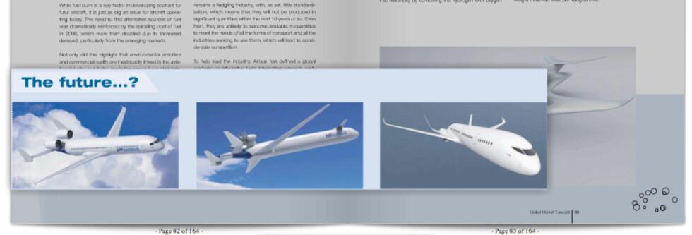 Denne skjermdumpen fra Airbus-rapporten viser tre spennende flyvarianter for fremtiden. Foto: Airbus