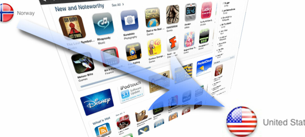 EN SLAGS UTVANDRING: Å flytte fra Norge til USA er enkelt når det kommer til iTunes Store. Nyttig er det også.