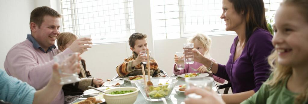MIDDAG = FAMILIETID: Det finnes en rekke gode grunner til å verne om familiemiddagen.  Foto: Colourbox