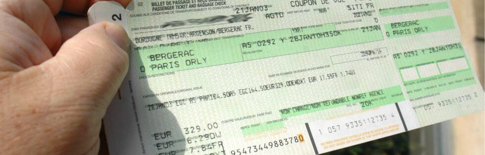 Sjekk flybilletten nøye, og se at navnet stemmer. I verste fall må du kjøpe ny billett ... Foto: Colourbox
