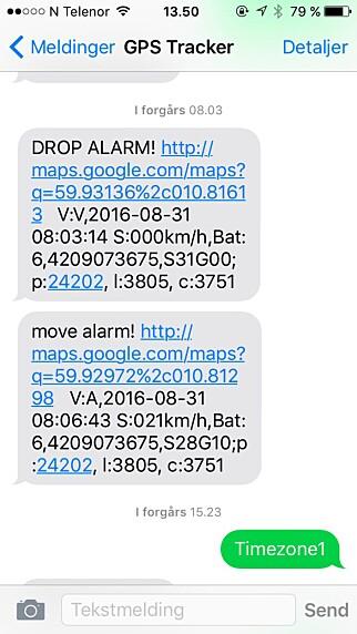 ALARM: Når noe skjer, får du beskjed via SMS med lenke inn i Google-kartet. (FOTO. TORE NESET)