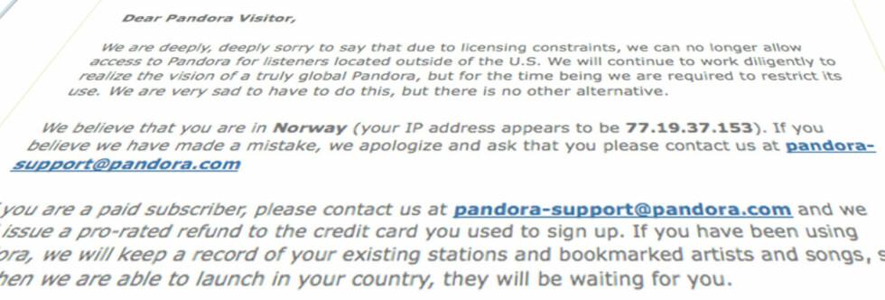 STENGT: Pandora er en av mange nettjenester som er sperret for europeiske brukere.