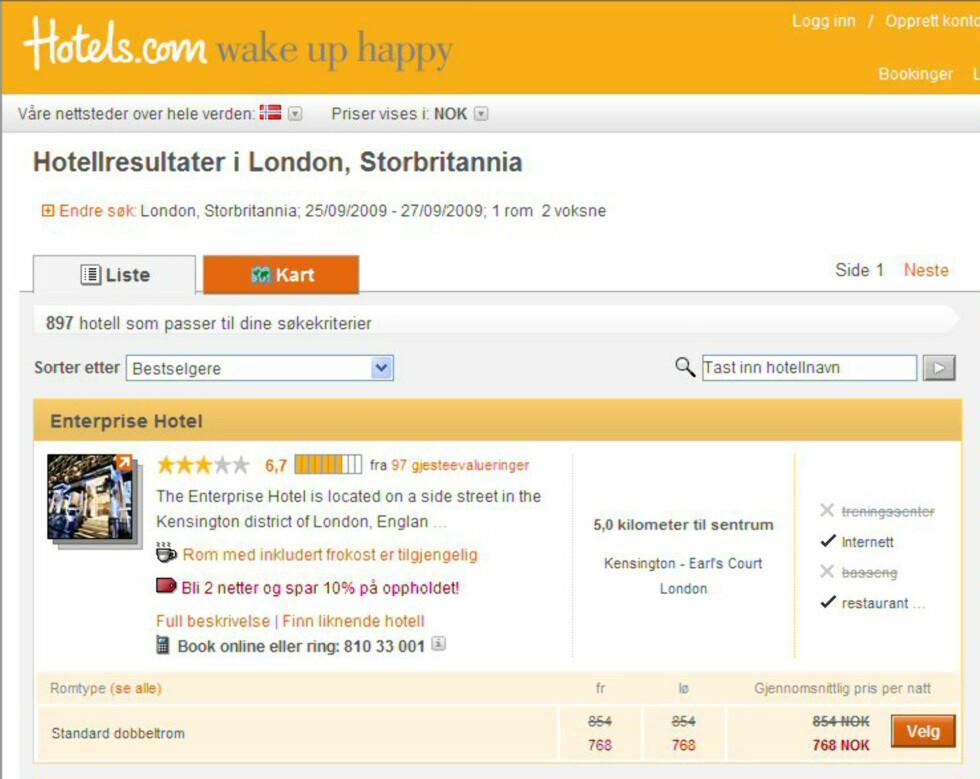 Hotels.com presenterer oss for denne prisen to ganger, men det er ikke den vi ender opp med å skulle betale. Foto: Faksimile