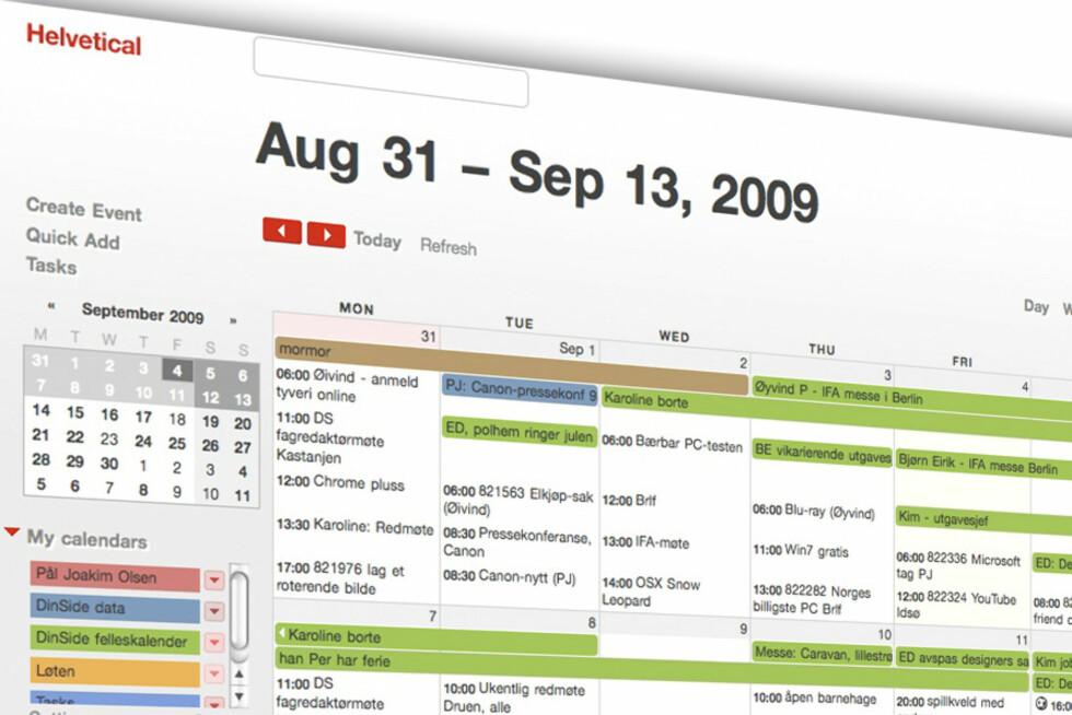 LEKKERT: Ved å laste ned Helvetical får du et rent og pent design på Google Calendar. Se tips nummer 8 for nedlastingslenke.