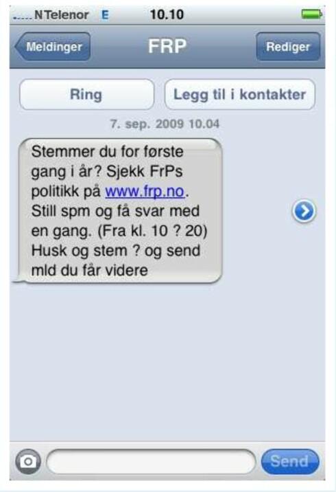 Slik så SMS-en ut for en iPhone-bruker. (Foto: Twitter-bruker @Petter_)