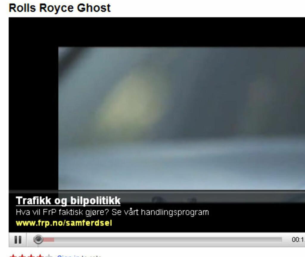 YouTube selger nå reklame under videoklippene. Her er også Fremskrittspartiet. (Faksimile: Youtube.com)