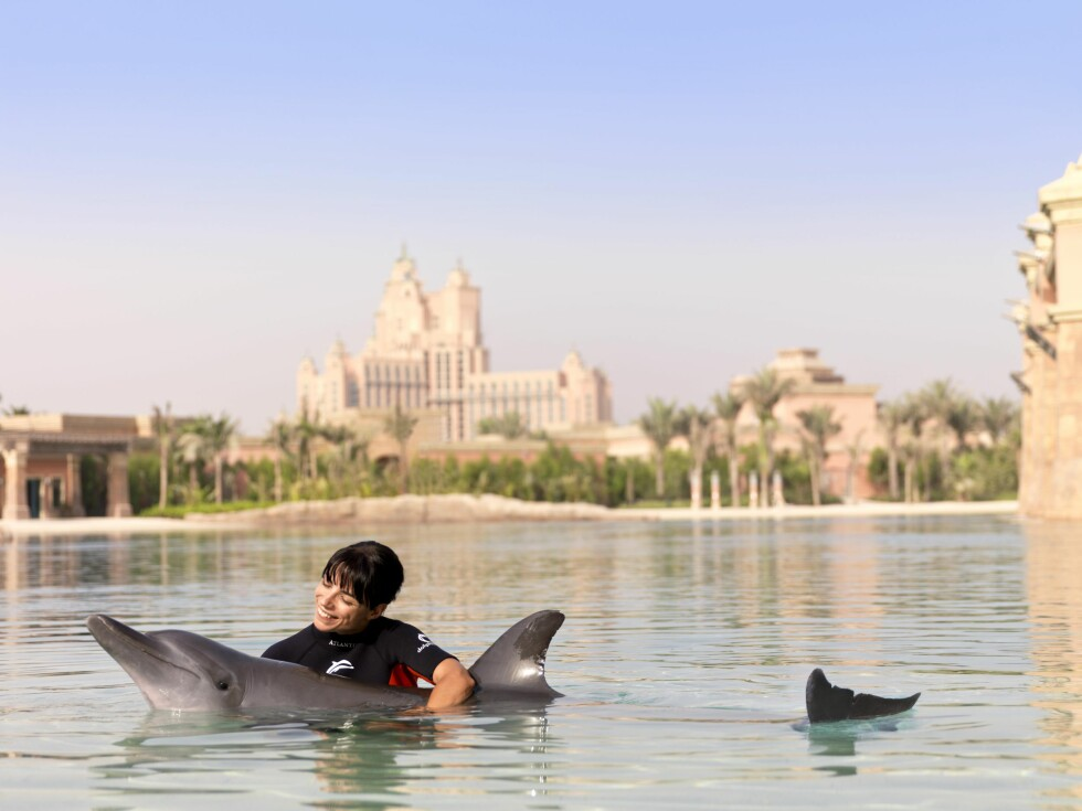 På Hotel Atlantis i Dubai kan du svømme med delfinene. Foto: Atlantis, The Palm