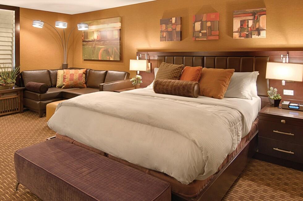 Etter en dukkert med haiene, er det sikkert greit å slappe av på rommet. En natt på Hotel Golden Nugget i Las Vegas koster fra 38 pund natta - eller 375 norske kroner. Foto: Hotel Golden Nugget