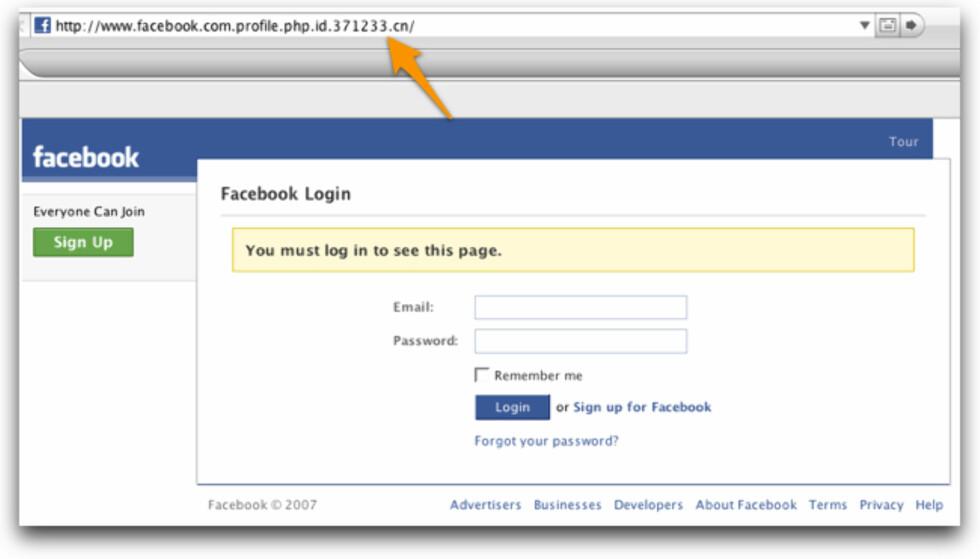 Dette er ikke innloggingssiden til Facebook, selv om det ser slik ut.