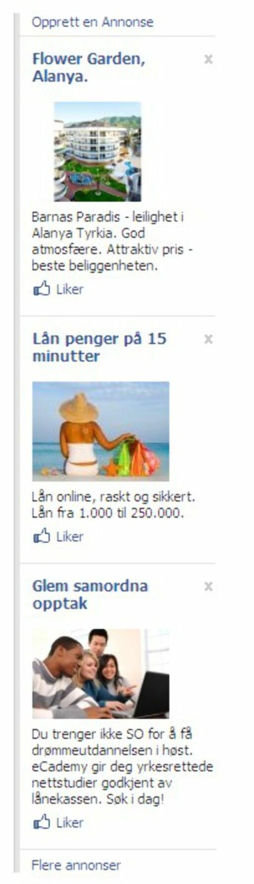Eksempeler på annonser du møter på Facebook hvis du logger deg på nettsamfunnet.