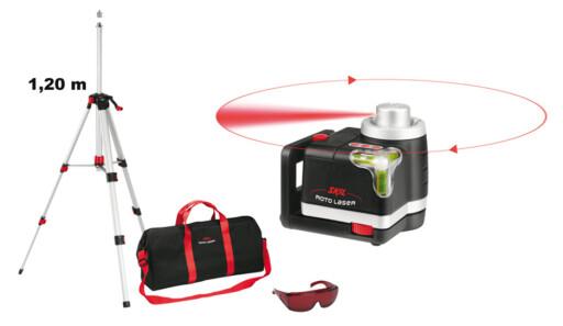 ROTERENDE LASERVATER: Manuell modell med mulighet for både horisontal og vertikal projeksjon. Sett inkludert briller som gjør laserstreken bedre synlig i dagslys.