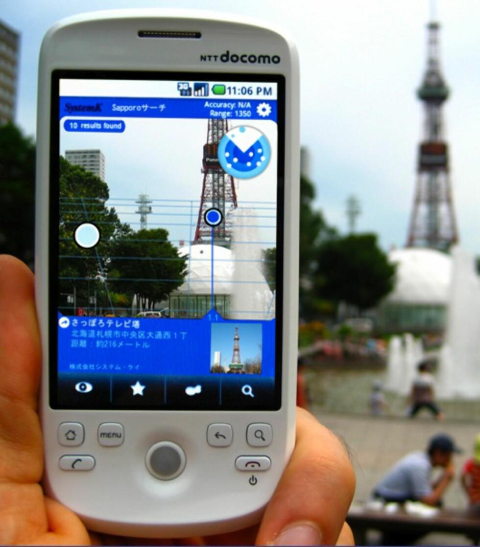 Eksempel på hvordan augmented reality brukes for å vise informasjon om det du ser i den virkelige verden. Foto: Layar.com