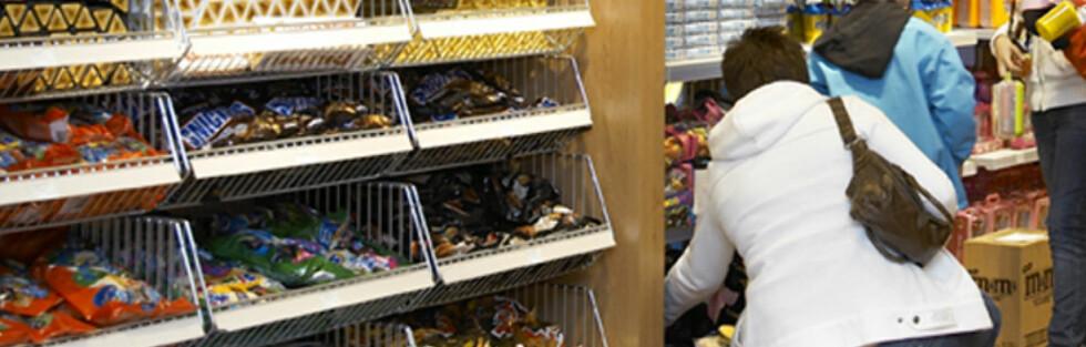Godterihyllene tar stor plass i taxfree-butikkene. Men bør du handle snop her? Foto: Travel Retail Norway