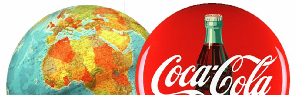 VERDEN RUNDT: Coca-Cola finnes i over 200 land, men smaken skal visstnok være den samme. Foto: Montasje: Colourbox.com og Coca-Cola Norge