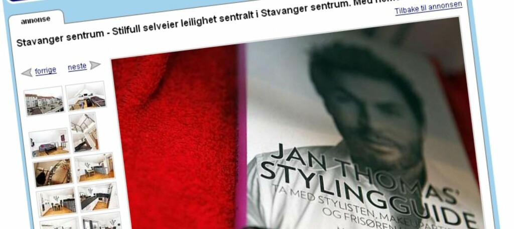Du gjettet kanskje riktig? Jan Thomas' stylingguide og Guess-klokken er illustrasjonsbilder for en leilighet i Stavanger. Foto: Finn.no
