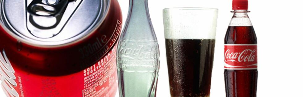 KJENNER DU FORSKJELL? Synes du brusen smaker annerledes etter hvilken emballaje som brukes? Foto: Montasje: Science Photo Library, Cocacola.no, Colourbox.com