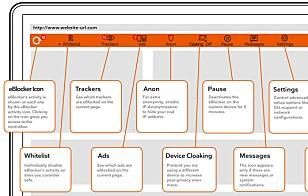 VERKTØYLINJE: Når du surfer på nettet, kan du gjøre en rekke justeringer på hvordan eBlocker skal fungere. Foto: eblocker.com