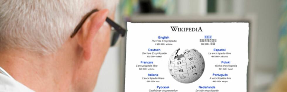 SØKER INFO: Leger bruker Wikipedia først og fremst for å finne informasjon og lidelser. Foto: Montasje: Colourbox og Wikipedia.org