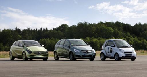 """Her er tre el-Mercedeser i """"kjømda"""": Fra venstre BlueZero concept, B-klasse F-Cell og elektro-Smart"""