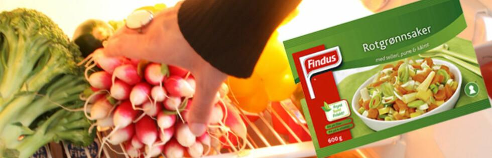 FERSKT ELLER FRYST? Frosne grønnsaker er minst like sunne som dem du har i kjøleskapet. Foto: Montasje: Colourbox og Findus